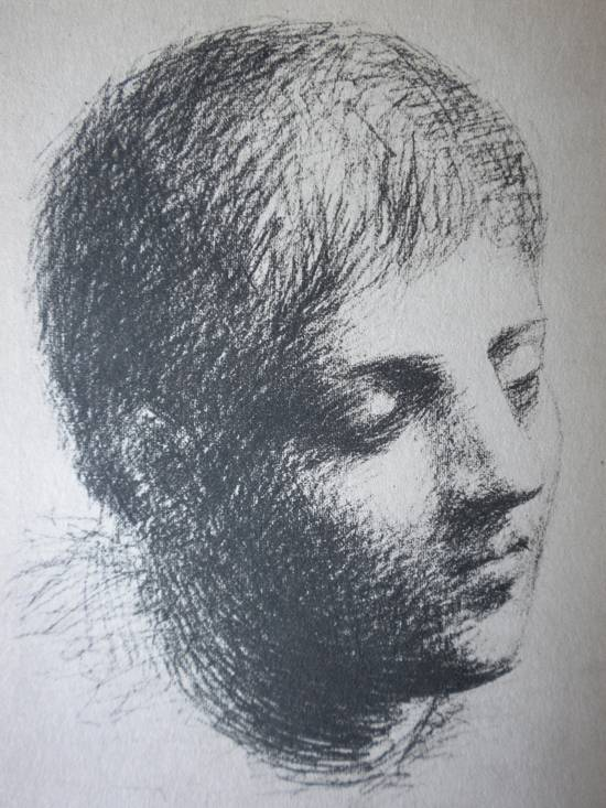 Pablo Picasso  HEAD OF A YOUNG MAN Black Crayon